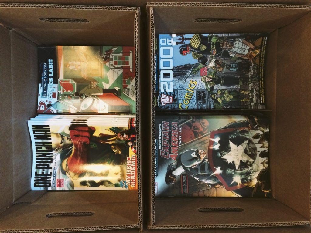 Free Comic Book Day, uma pequena parte ainda na caixa.